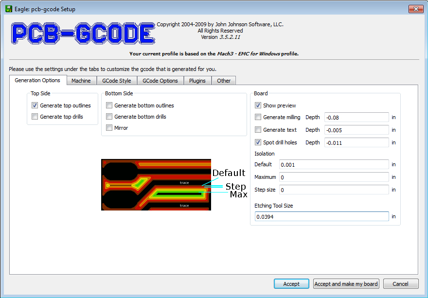 PCB-GCODE screenshot